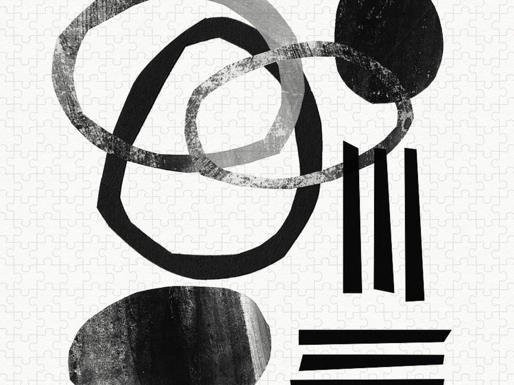Black And White Abstract Puzzle featuring the mixed media Black and White- Abstract Art by Linda Woods