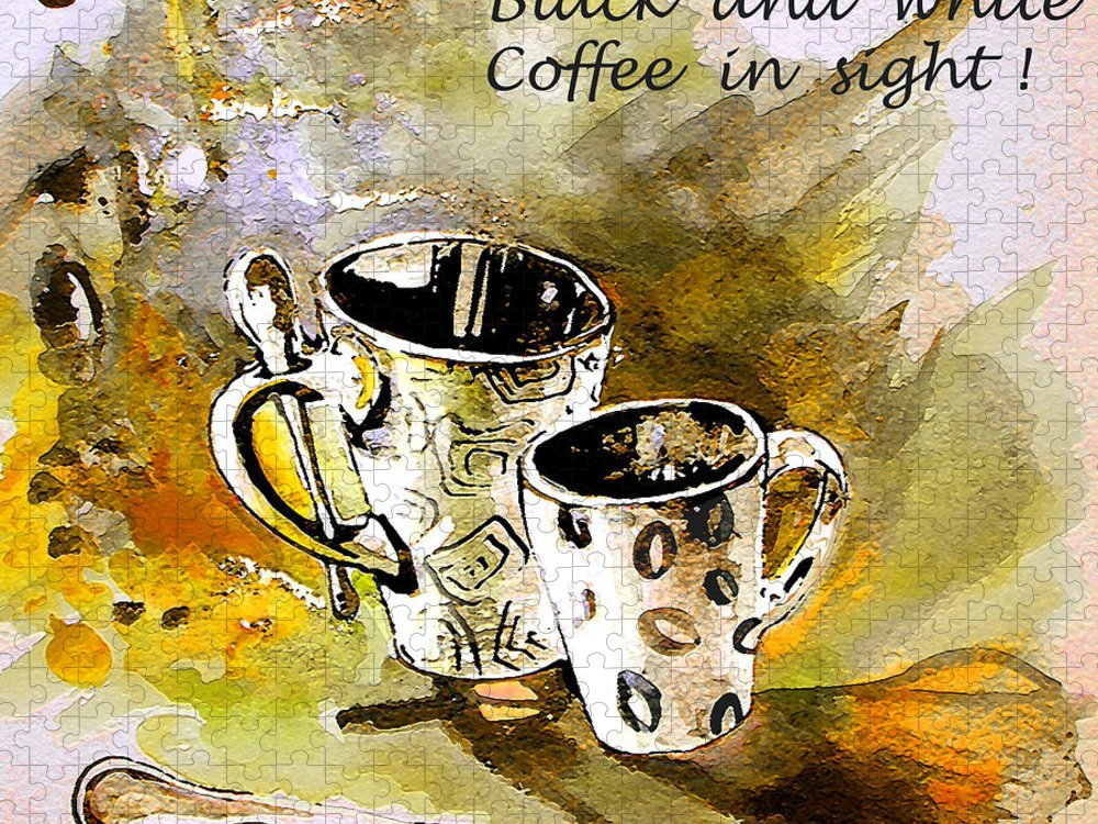 Cafe Crem Puzzle featuring the painting Black and White by Miki De Goodaboom