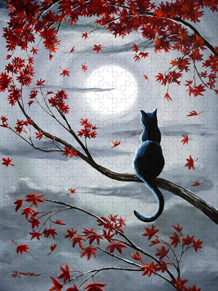 Zen Puzzle featuring the painting Black Cat in Silvery Moonlight by Laura Iverson