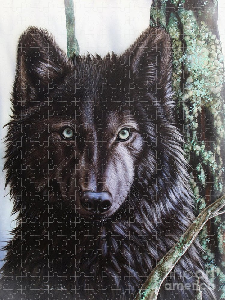 Wolves Puzzle featuring the painting Black Wolf by Sandi Baker