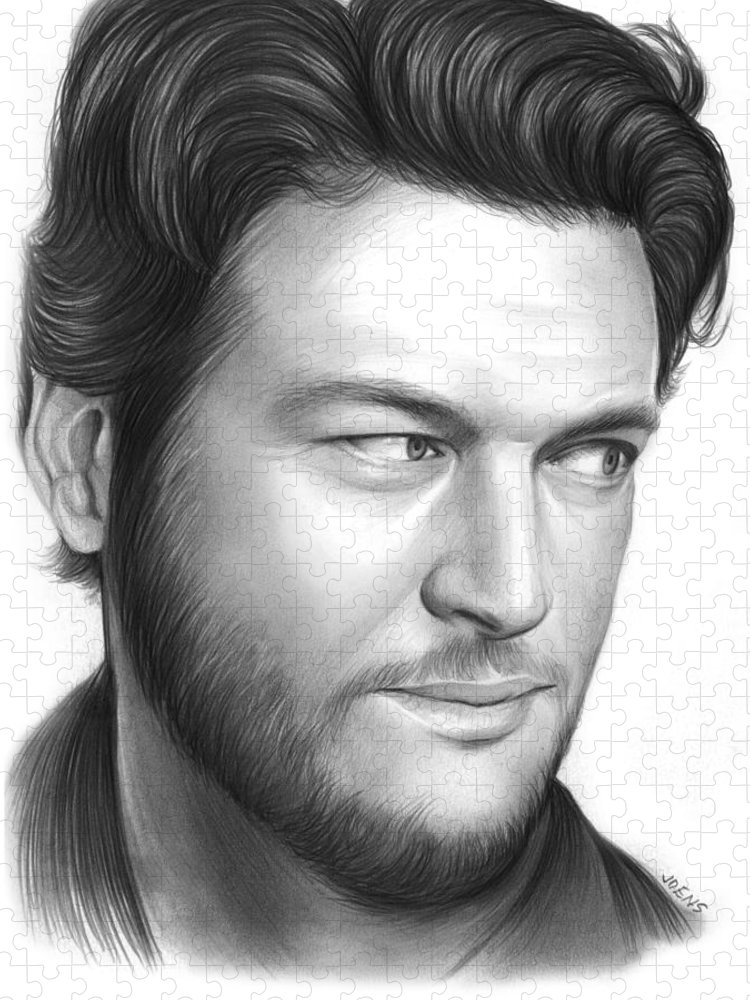 Celebrity Puzzle featuring the drawing Blake Shelton by Greg Joens