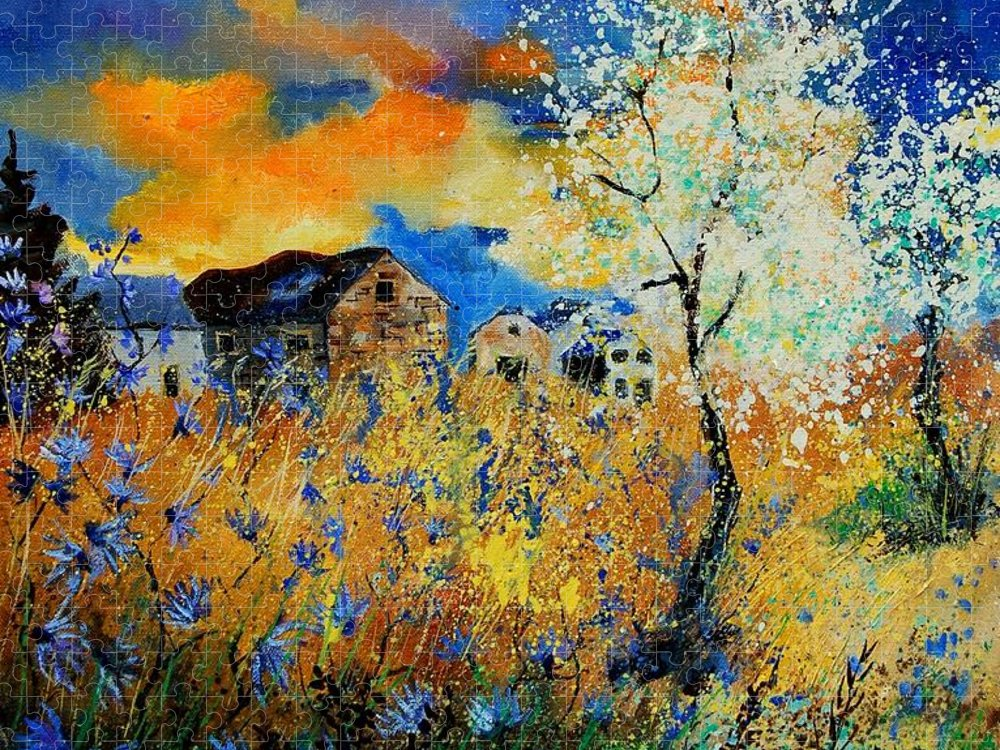 Poppies Puzzle featuring the painting Blooming trees by Pol Ledent