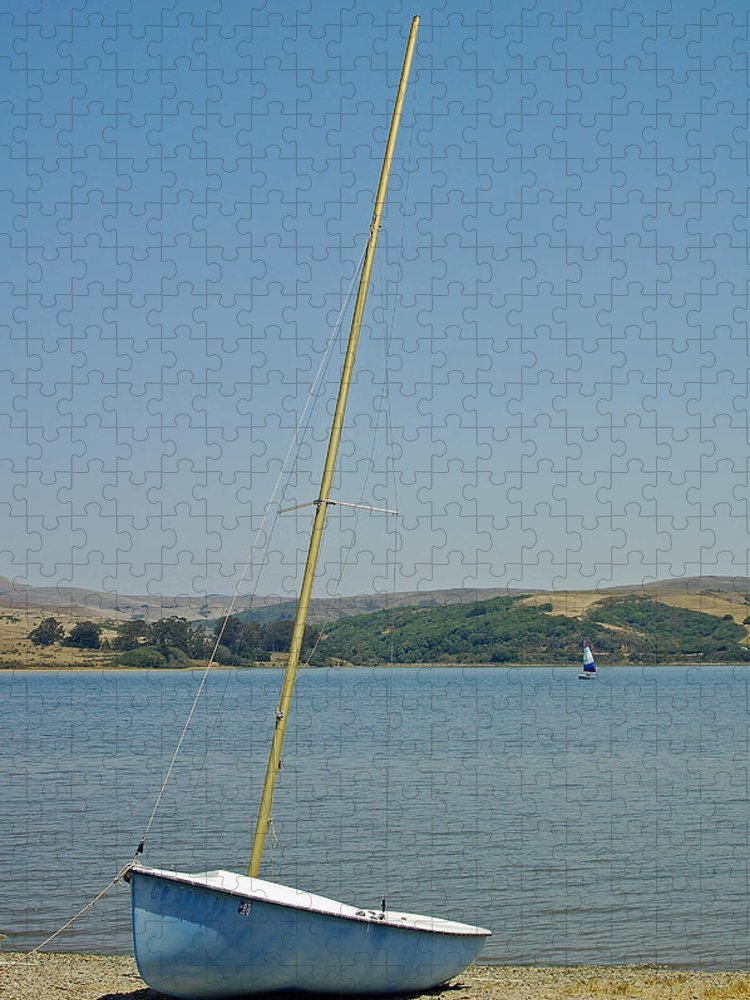 Blue Puzzle featuring the photograph Blue Sailboat by Suzanne Gaff