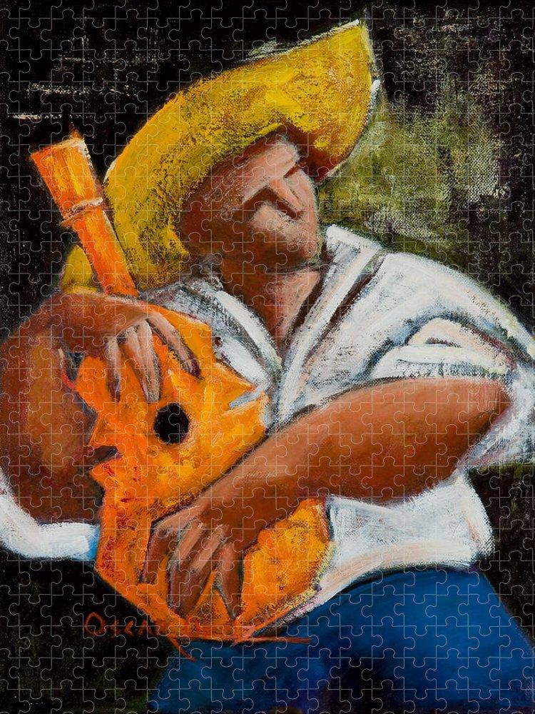 Puerto Rico Puzzle featuring the painting Bravado Alla Prima by Oscar Ortiz
