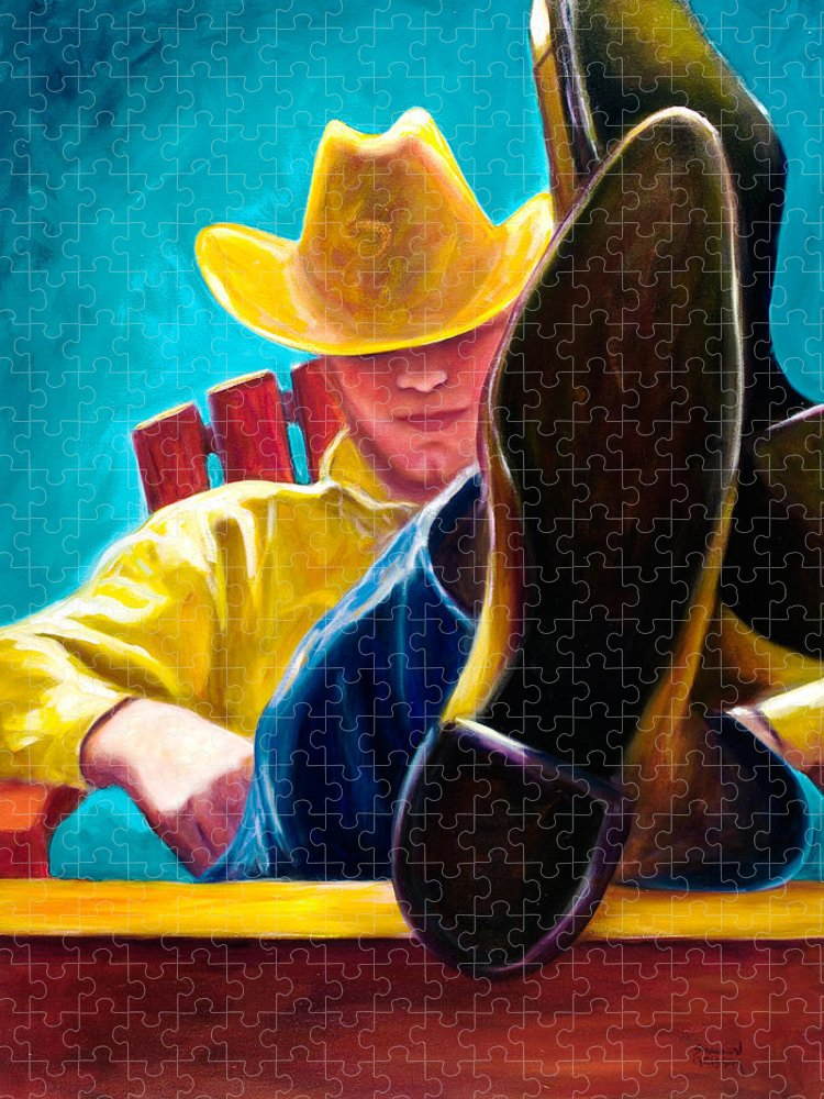 Western Puzzle featuring the painting Break Time by Shannon Grissom