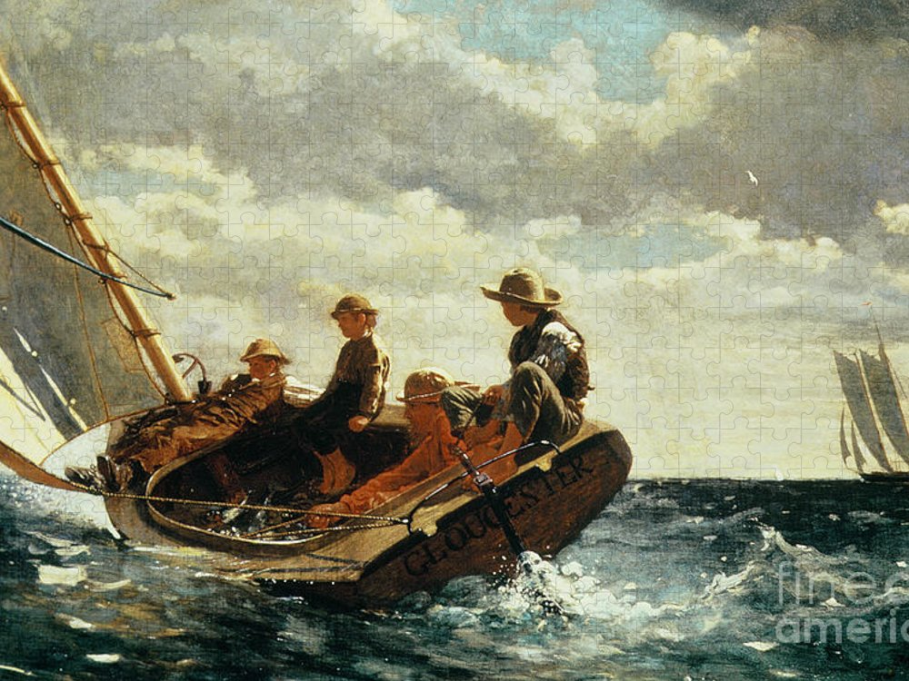 Breezing Up Puzzle featuring the painting Breezing Up by Winslow Homer