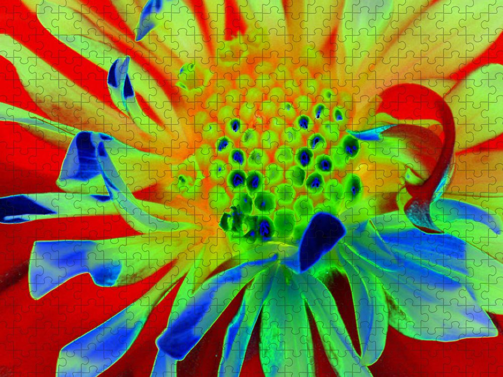 Diane Berry Puzzle featuring the painting Bright Flower by Diane E Berry