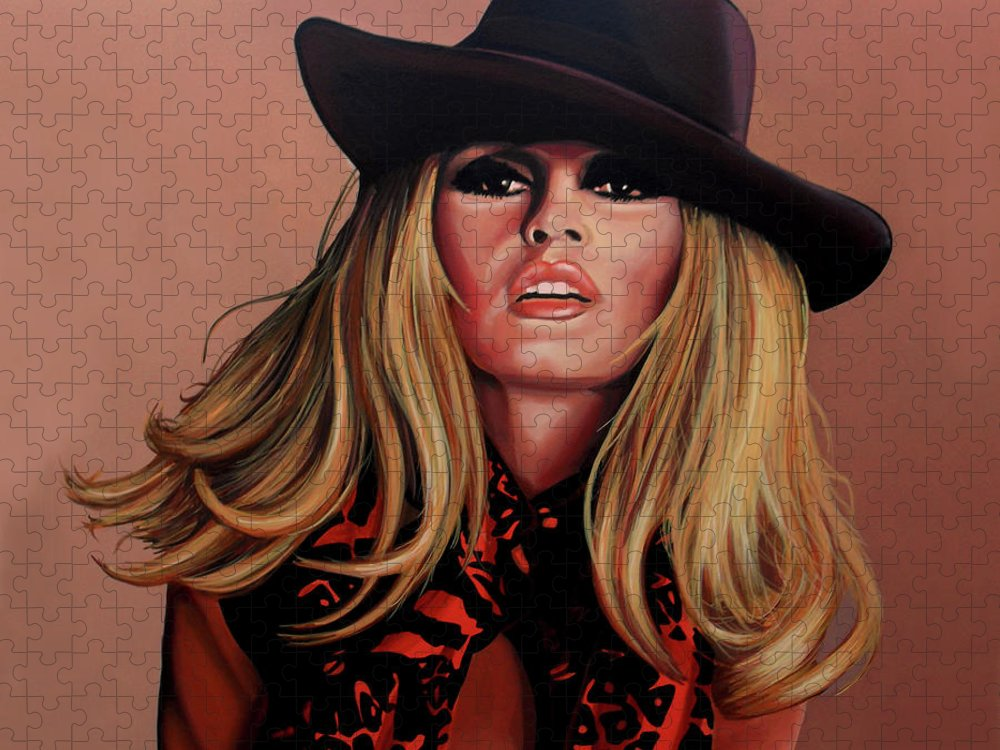 Brigitte Bardot Puzzle featuring the painting Brigitte Bardot Painting 1 by Paul Meijering