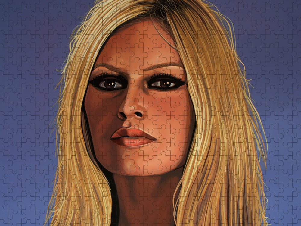 Brigitte Bardot Puzzle featuring the painting Brigitte Bardot Painting 3 by Paul Meijering