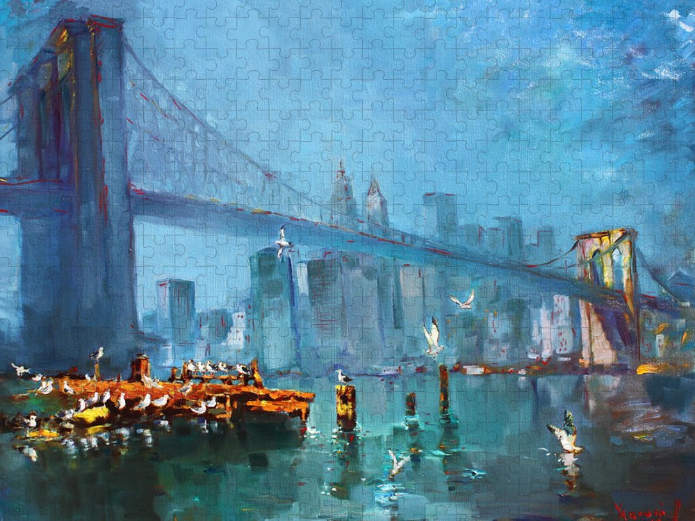 Landscape Puzzle featuring the painting Brooklyn Bridge by Ylli Haruni