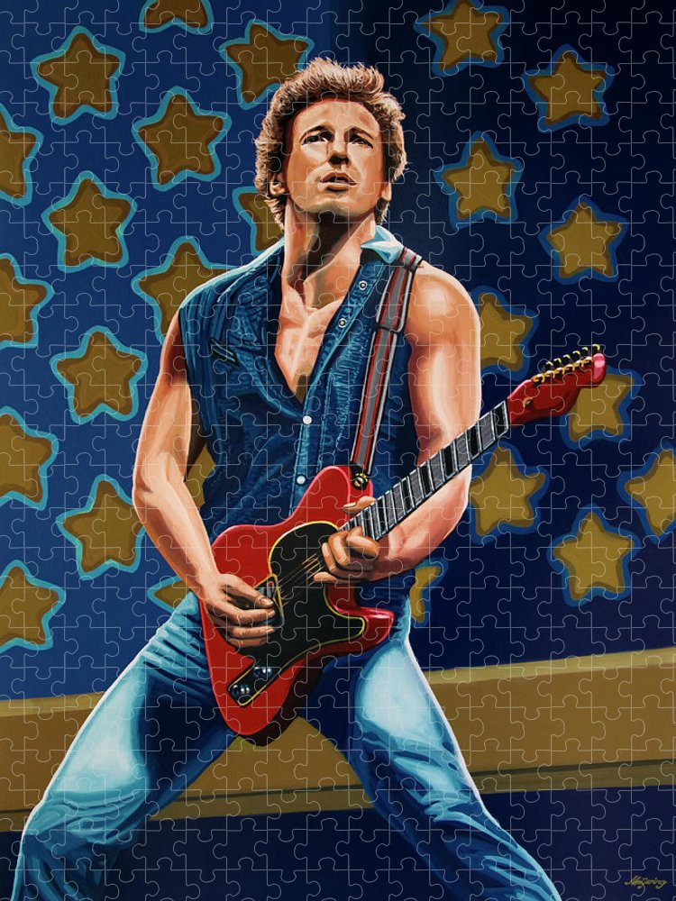Bruce Springsteen Puzzle featuring the painting Bruce Springsteen The Boss Painting by Paul Meijering