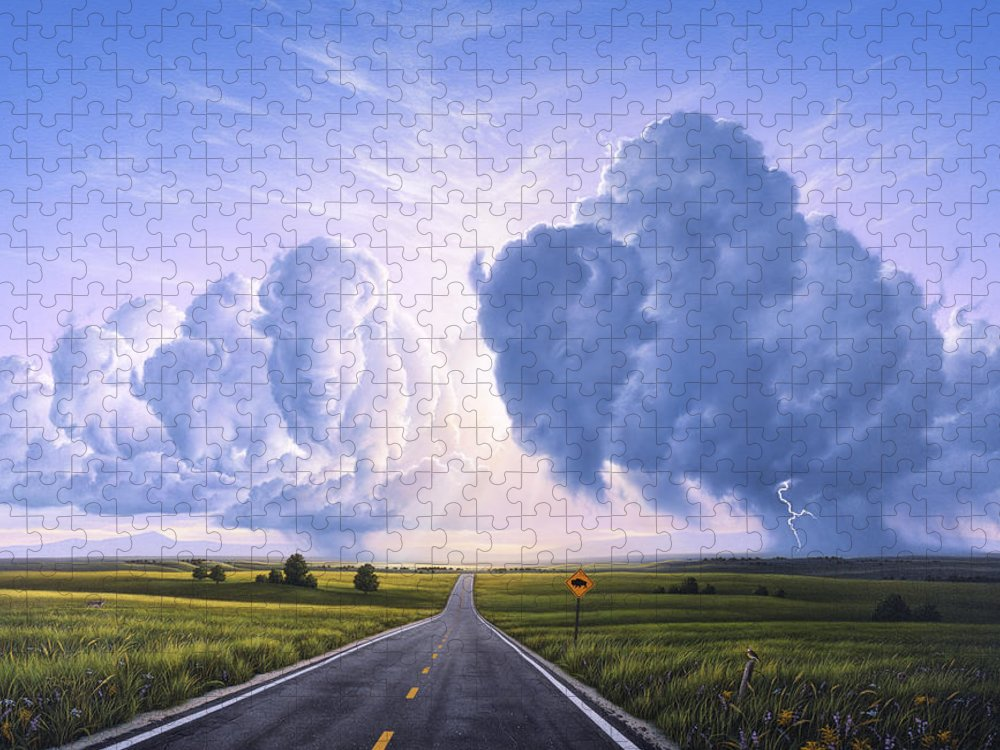 Buffalo Puzzle featuring the painting Buffalo Crossing by Jerry LoFaro