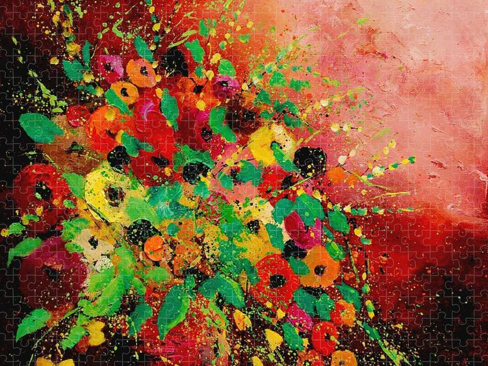 Flowers Puzzle featuring the painting Bunch of flowers 0507 by Pol Ledent