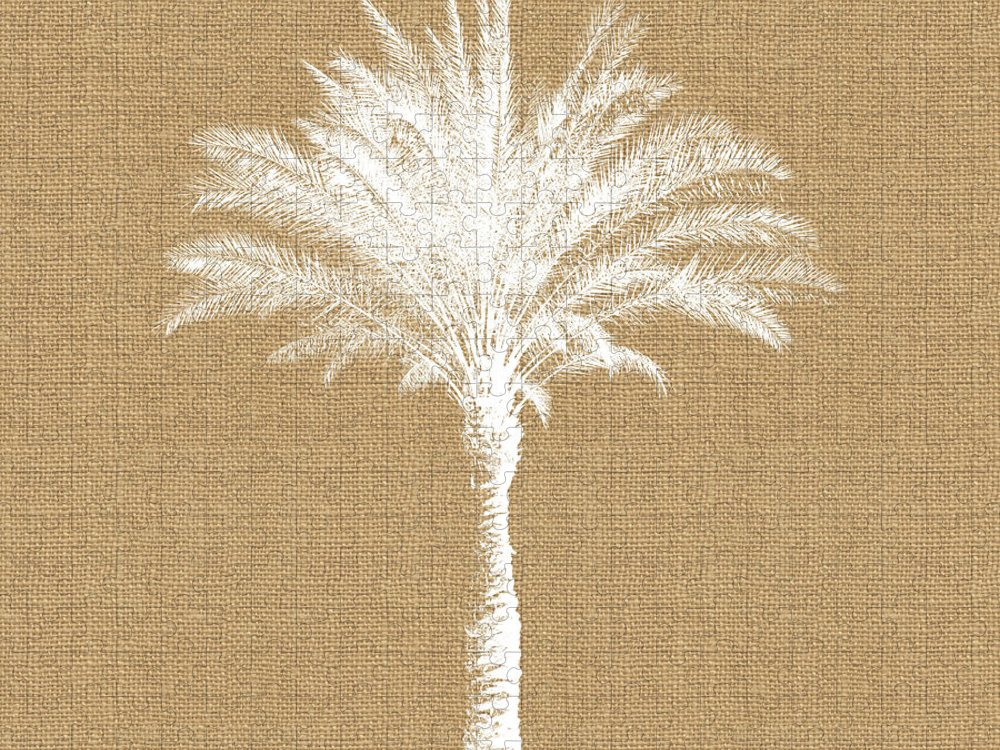 Palm Tree Puzzle featuring the mixed media Burlap Palm Tree- Art by Linda Woods by Linda Woods