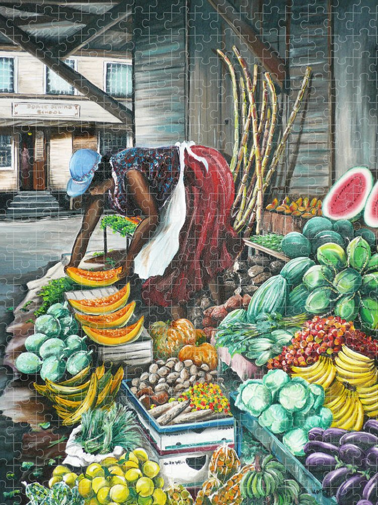Caribbean Painting Market Vendor Painting Caribbean Market Painting Fruit Painting Vegetable Painting Woman Painting Tropical Painting City Scape Trinidad And Tobago Painting Typical Roadside Market Vendor In Trinidad Puzzle featuring the painting Caribbean Market Day by Karin Dawn Kelshall- Best