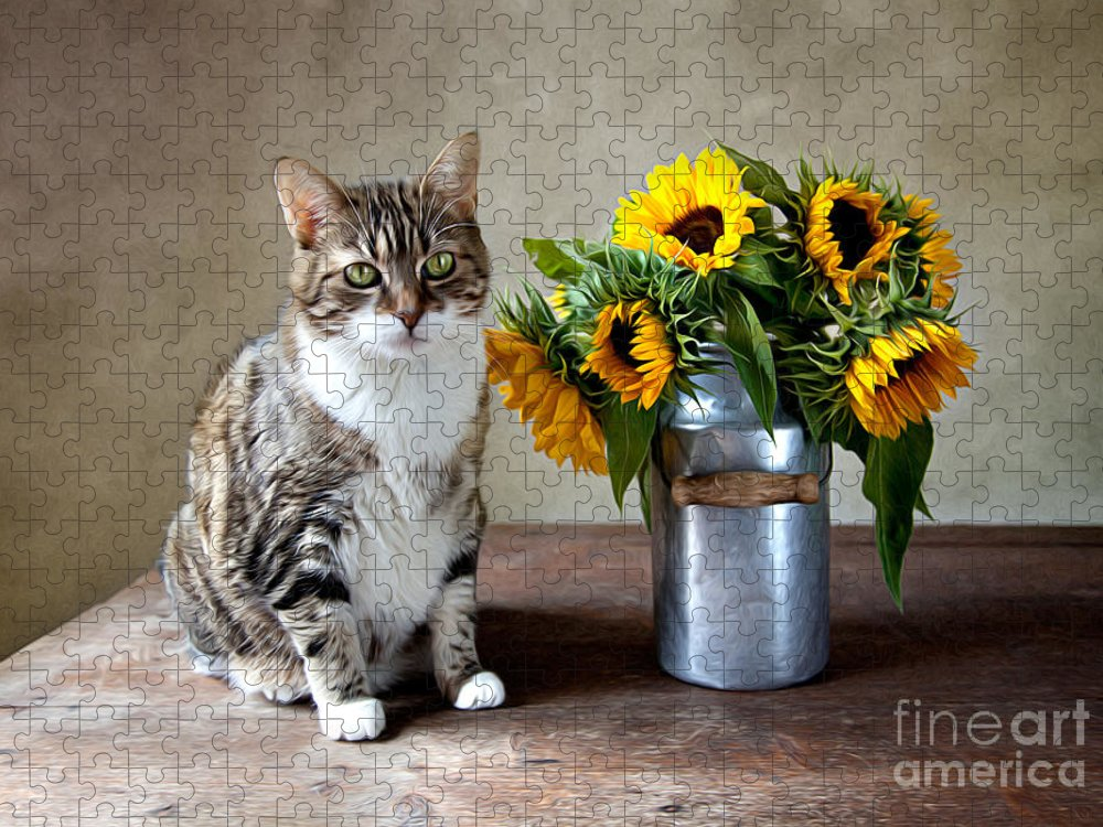 Cat Puzzle featuring the painting Cat and Sunflowers by Nailia Schwarz