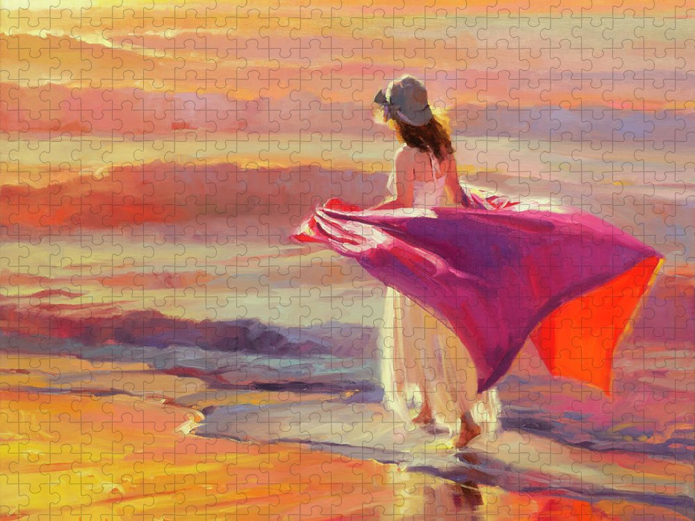 Coast Puzzle featuring the painting Catching the Breeze by Steve Henderson