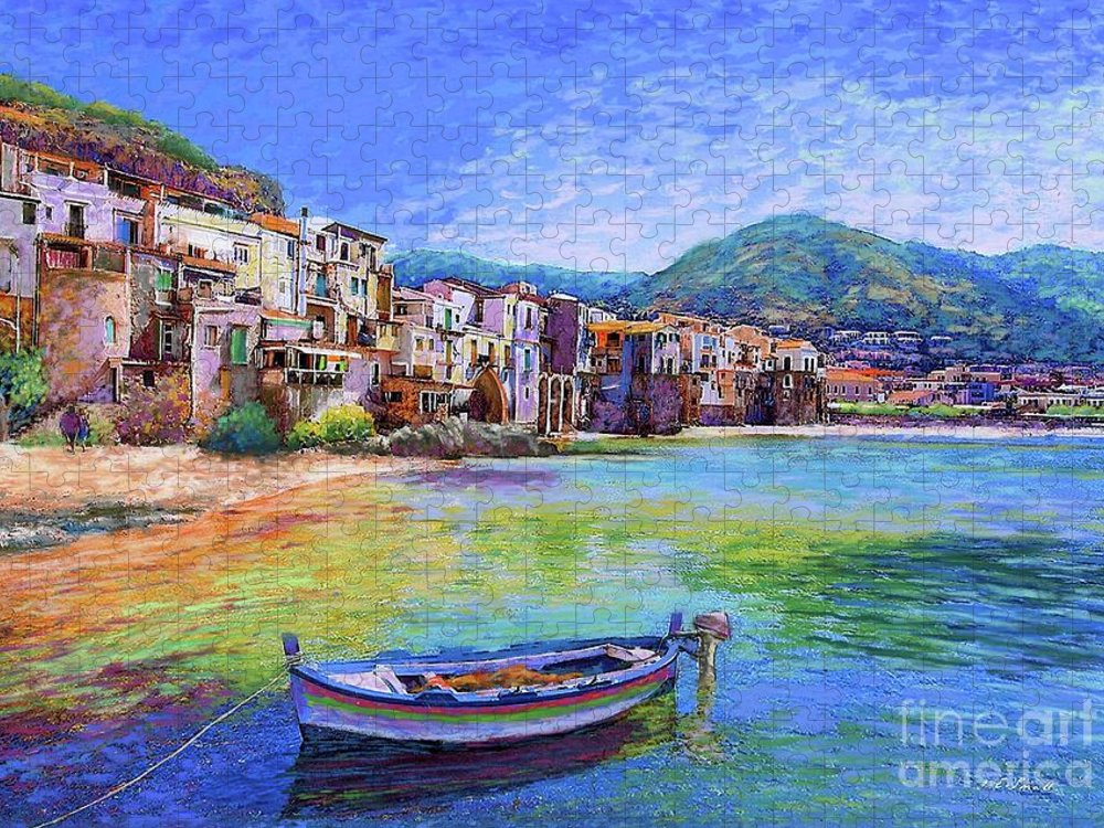 Italy Puzzle featuring the painting Cefalu Sicily Italy by Jane Small