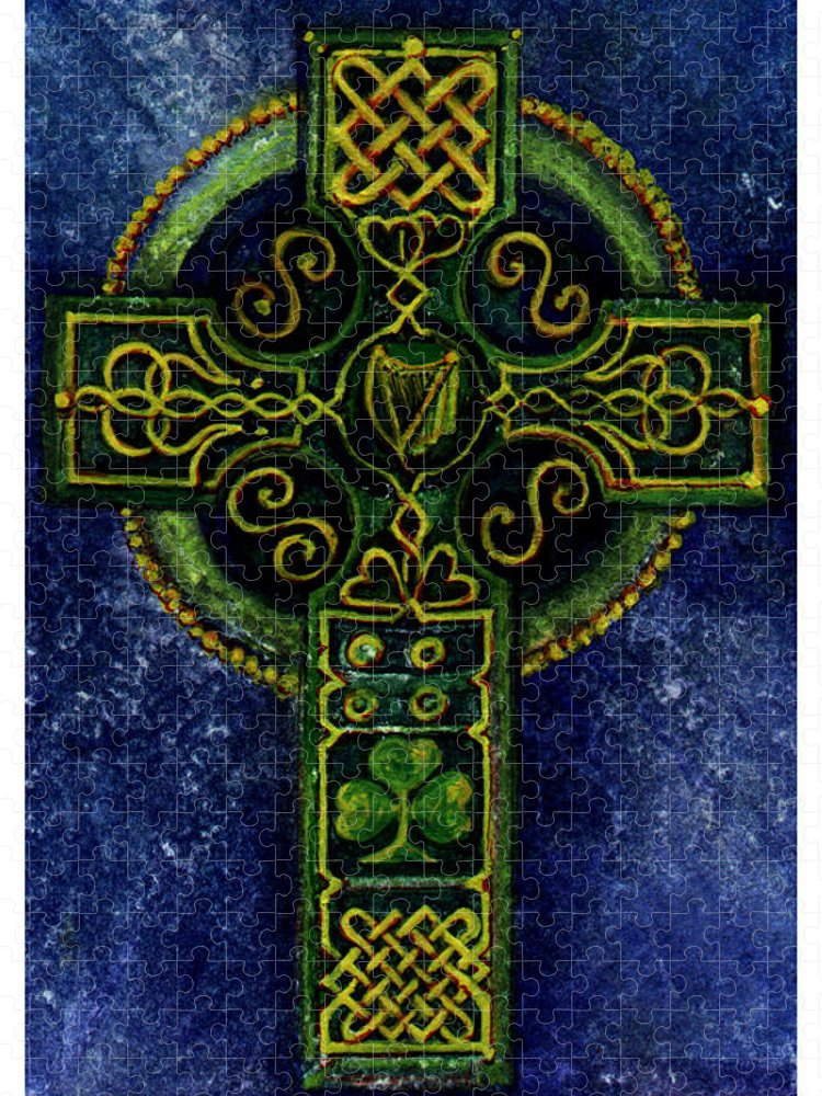 Elle Fagan Puzzle featuring the painting Celtic Cross - Harp by Elle Smith Fagan