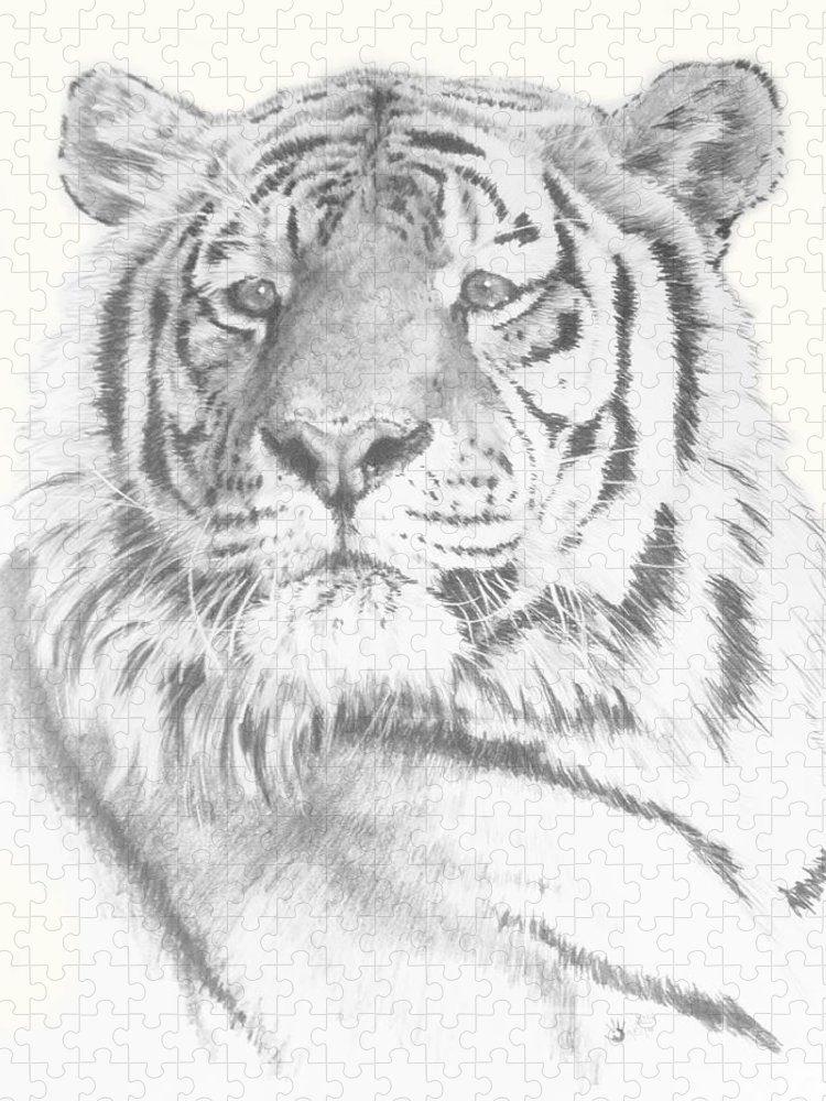 Tiger Puzzle featuring the mixed media Charisma by Barbara Keith