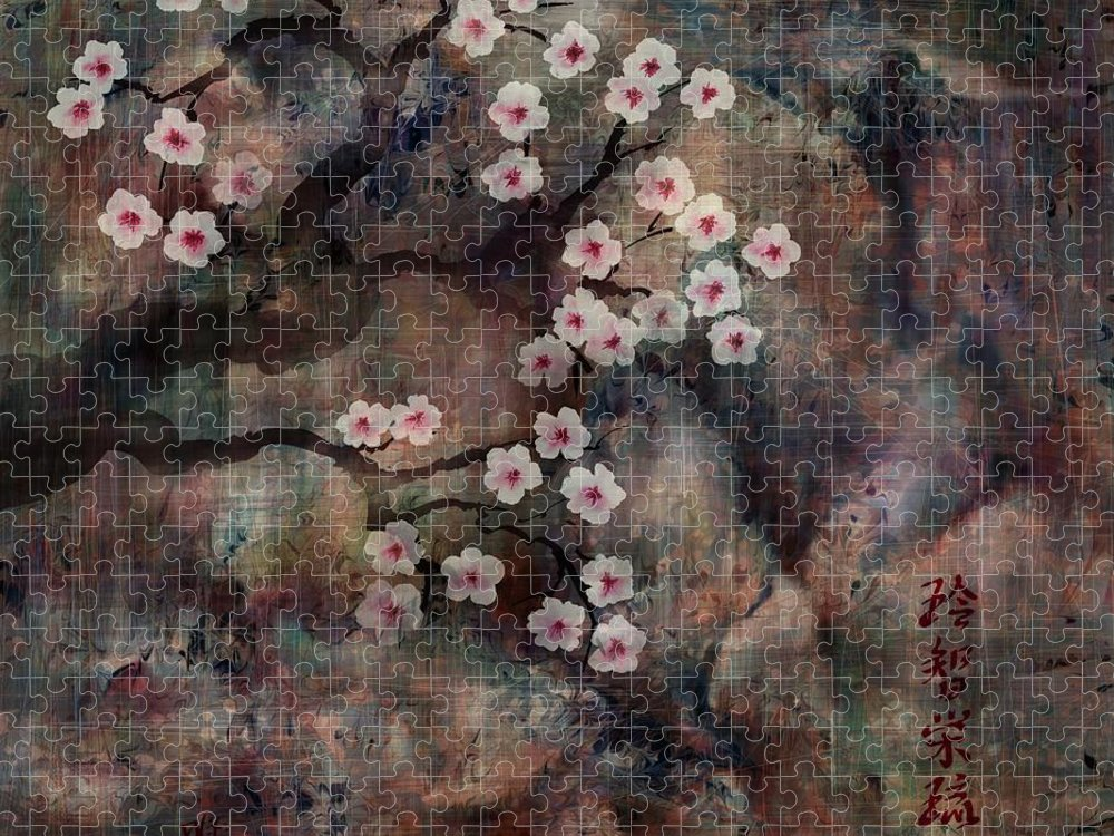Landscape Puzzle featuring the digital art Cherry Blossoms by William Russell Nowicki