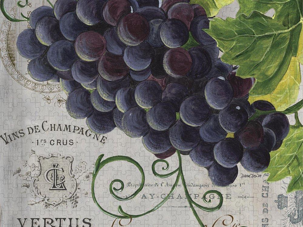 Grapes Puzzle featuring the painting Vins de Champagne 2 by Debbie DeWitt