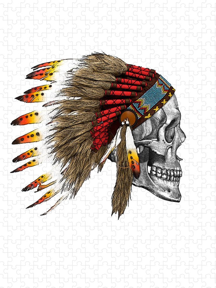 Indian Puzzle featuring the digital art Chief headdress on human skull native american art by Madame Memento