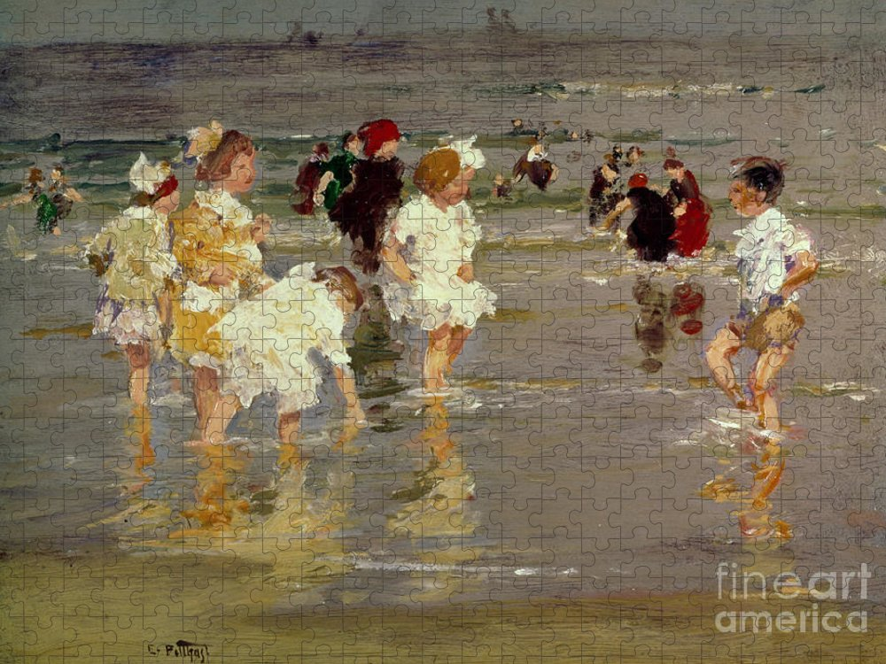 Water Puzzle featuring the painting Children on the Beach by Edward Henry Potthast