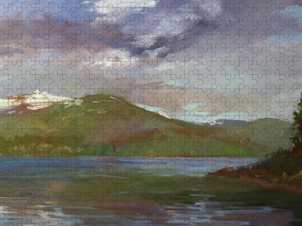 Murals Puzzle featuring the painting Chimney Rock at Priest Lake Plein Air by Betty Jean Billups