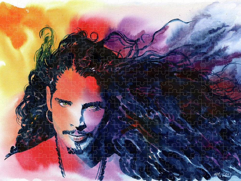 Soundgarden Puzzle featuring the painting Chris Cornell by Ken Meyer jr