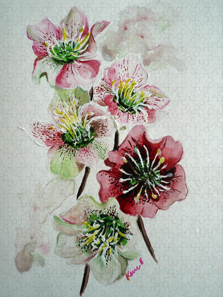 Floral Flower Pink Puzzle featuring the painting Christmas Rose by Karin Dawn Kelshall- Best