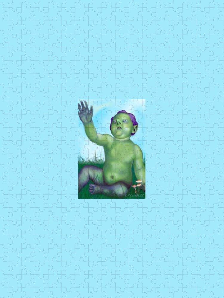 Digital Puzzle featuring the digital art Chubby Elvin Lad by J P Lambert