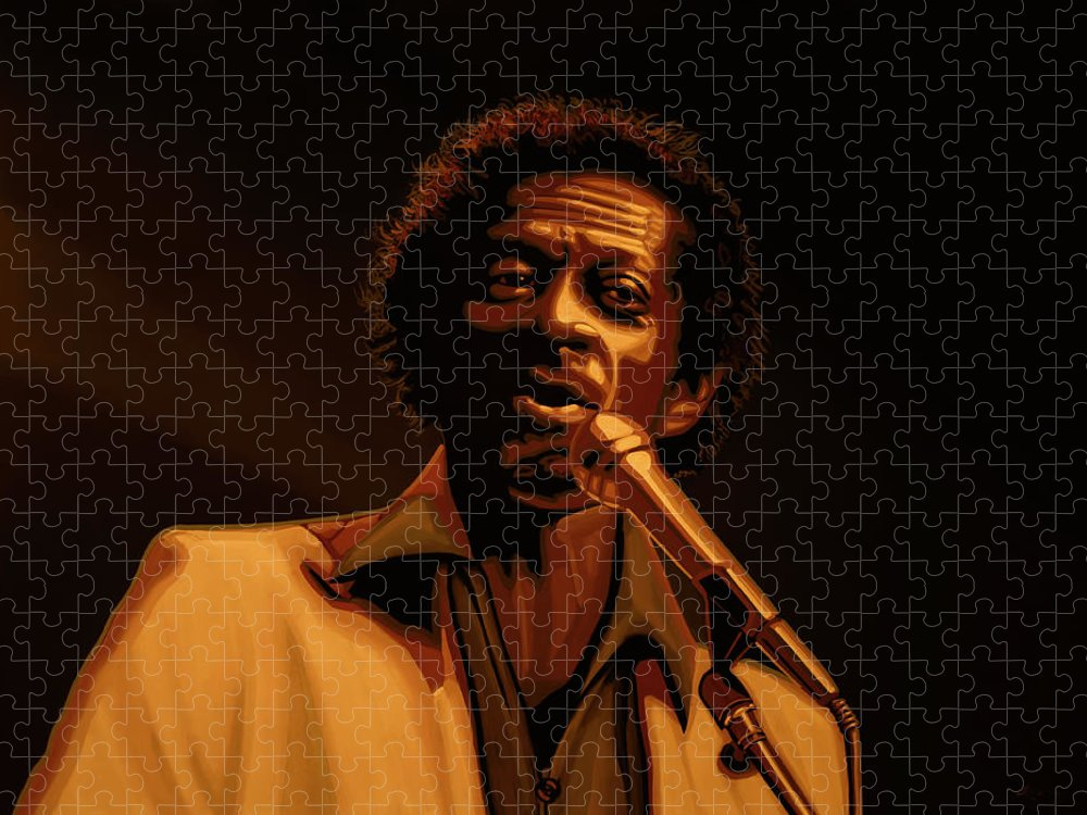 Chuck Berry Puzzle featuring the mixed media Chuck Berry Gold by Paul Meijering