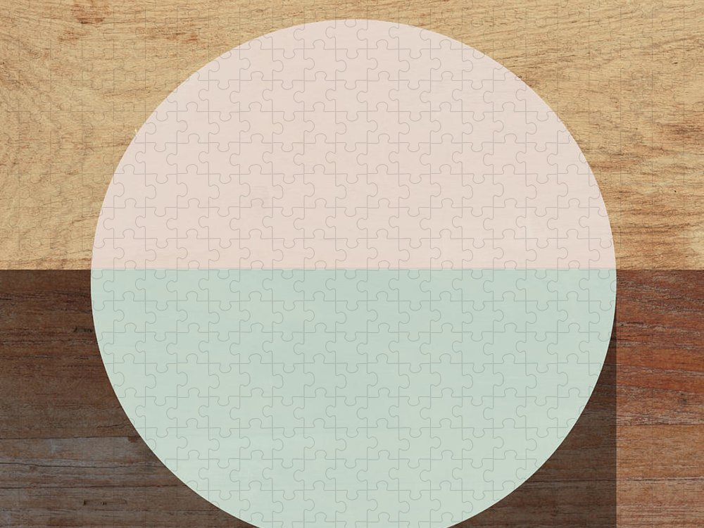 Modern Puzzle featuring the mixed media Cirkel in Peach and Mint- Art by Linda Woods by Linda Woods