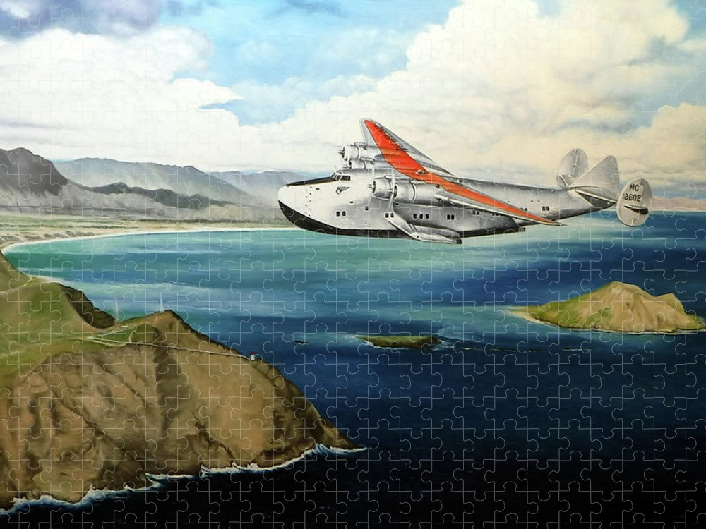 Clipper Puzzle featuring the painting Clipper at the Makapu'u Light by Marcus Stewart