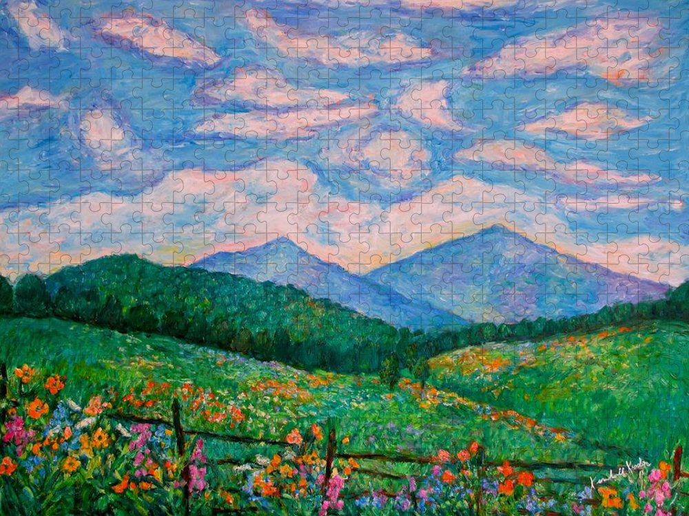 Kendall Kessler Puzzle featuring the painting Cloud Swirl over The Peaks of Otter by Kendall Kessler