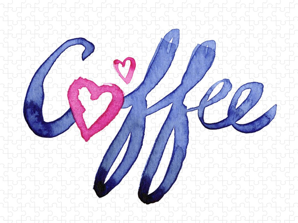 Coffee Puzzle featuring the painting Coffee Lover Typography by Olga Shvartsur