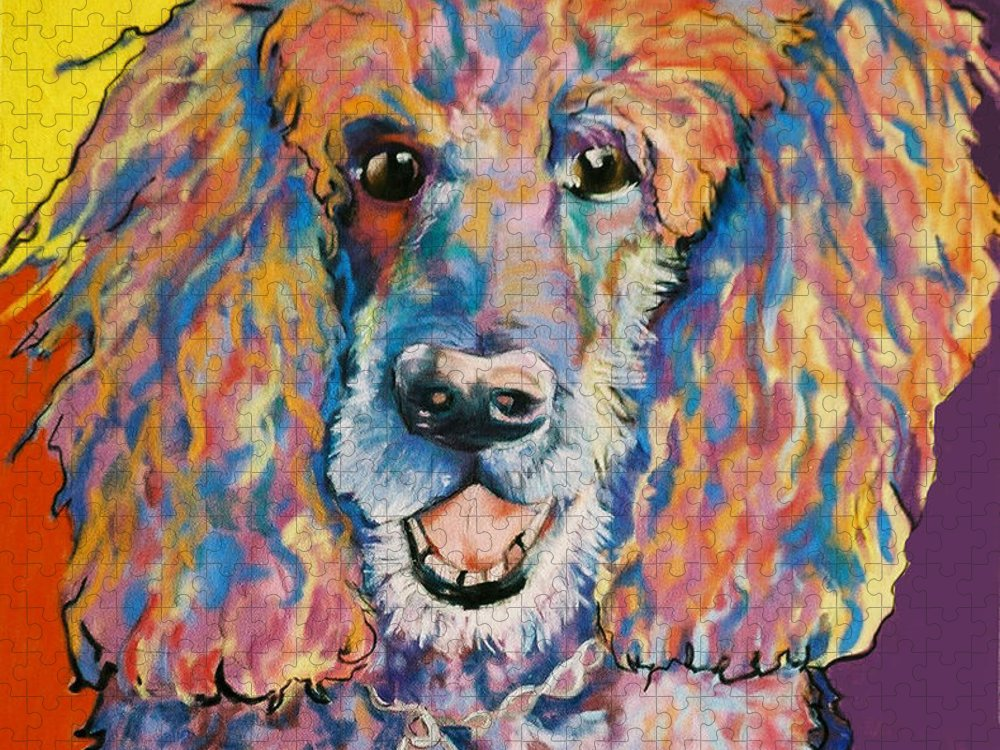 Standard Poodle Puzzle featuring the painting Cole by Pat Saunders-White