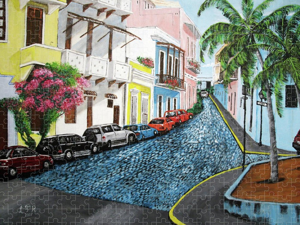 Old San Juan Puzzle featuring the painting Colorful Old San Juan by Luis F Rodriguez