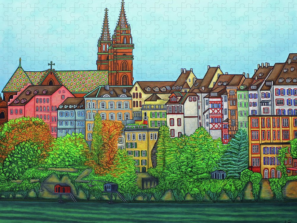 Lisa Lorenz Puzzle featuring the painting Basel, Colours of Basel by Lisa Lorenz