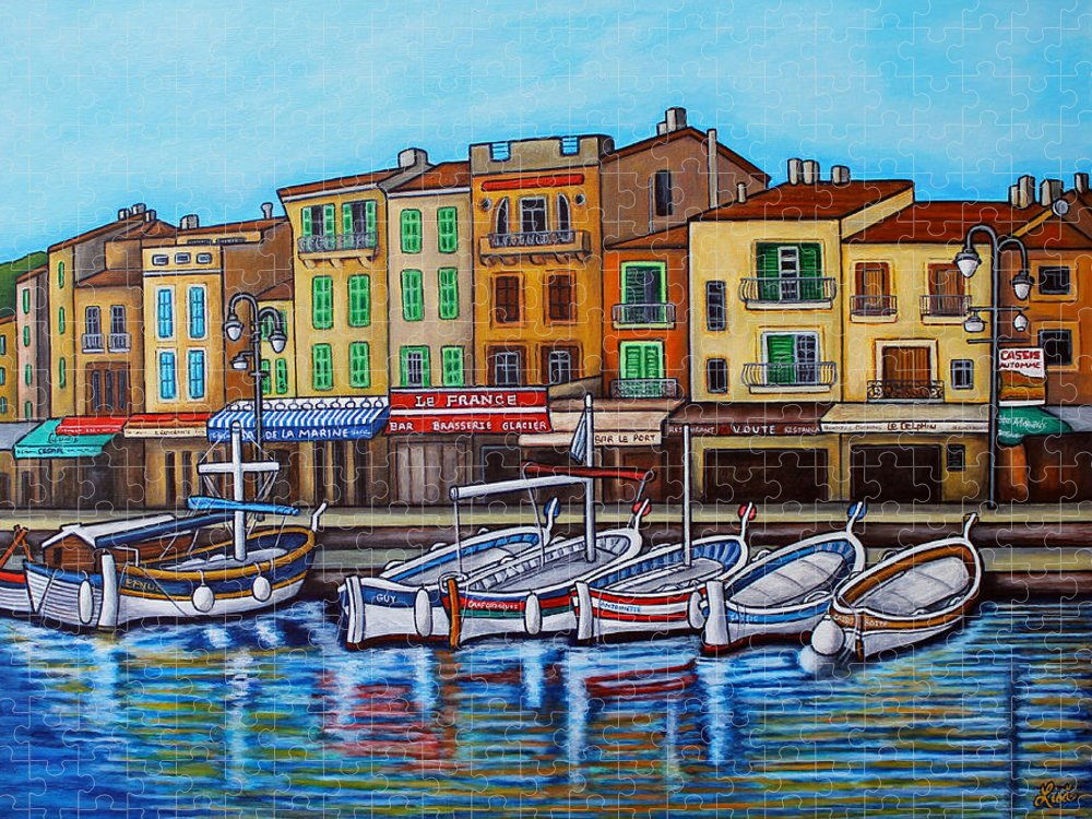 Cassis Puzzle featuring the painting Colours of Cassis by Lisa Lorenz