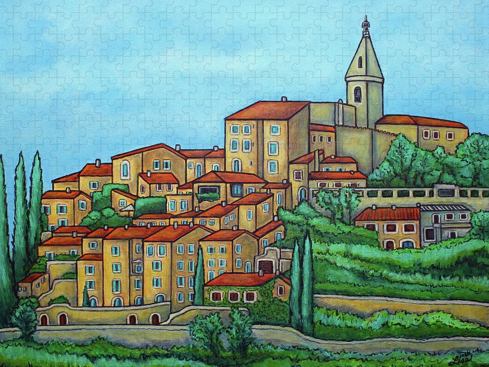 Provence Puzzle featuring the painting Colours of Crillon-le-Brave, Provence by Lisa Lorenz