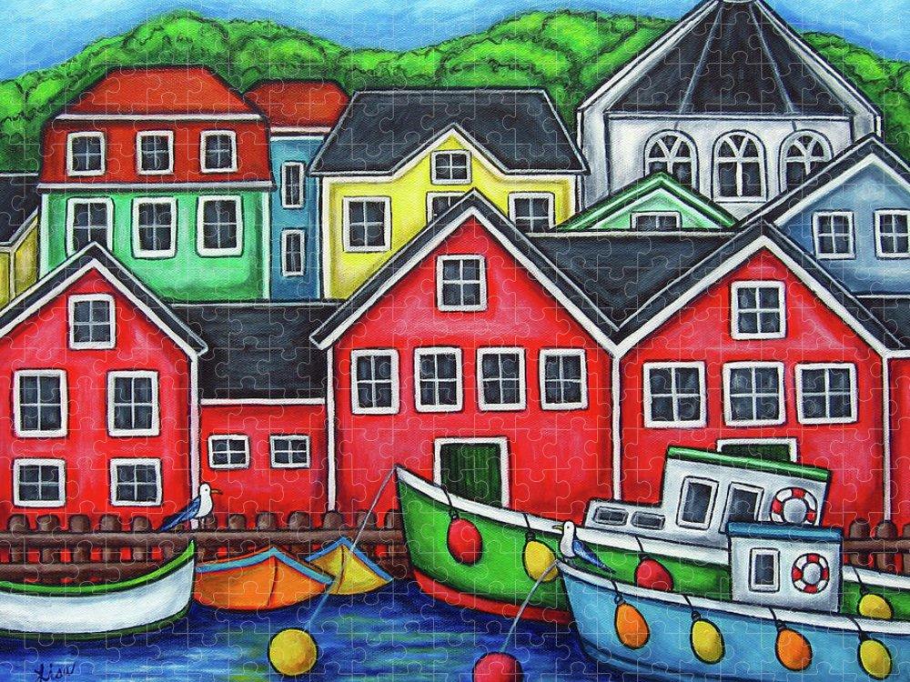 Nova Scotia Puzzle featuring the painting Colours of Lunenburg by Lisa Lorenz