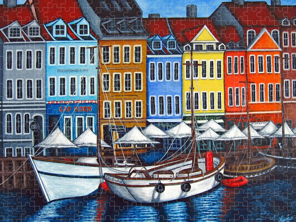 Nyhavn Puzzle featuring the painting Colours of Nyhavn by Lisa Lorenz
