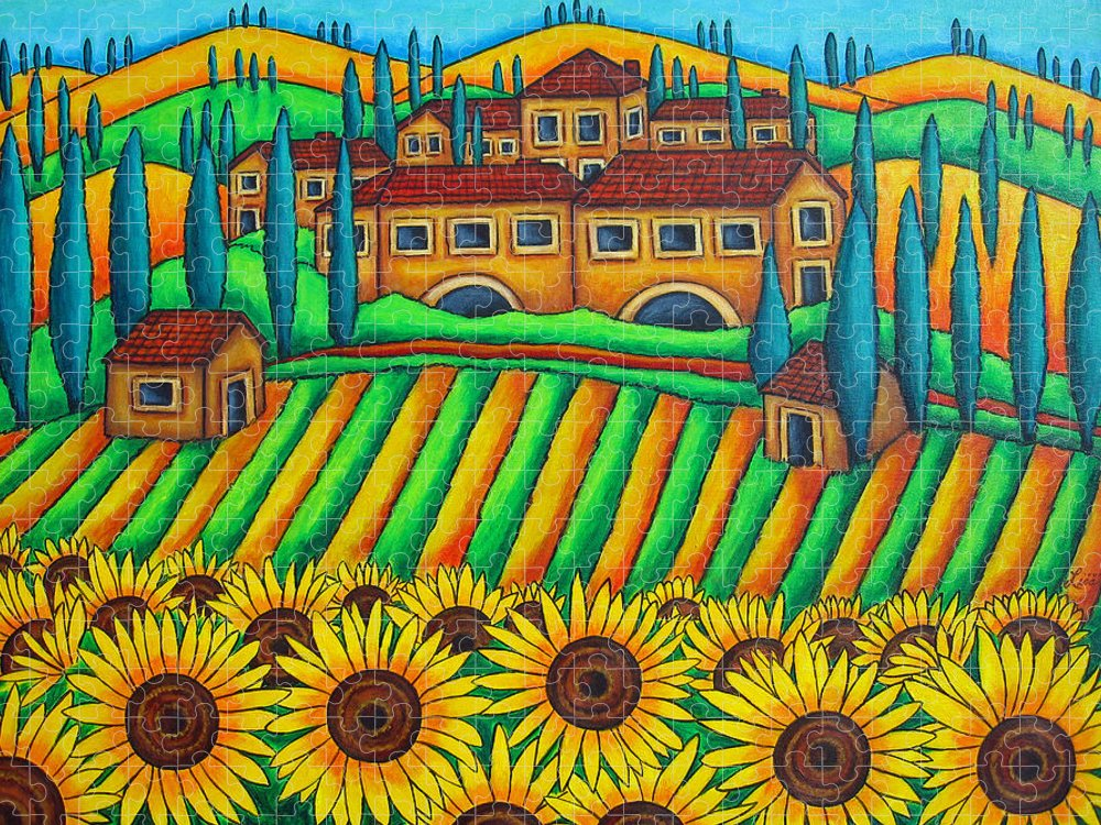 Tuscany Puzzle featuring the painting Colours of Tuscany by Lisa Lorenz