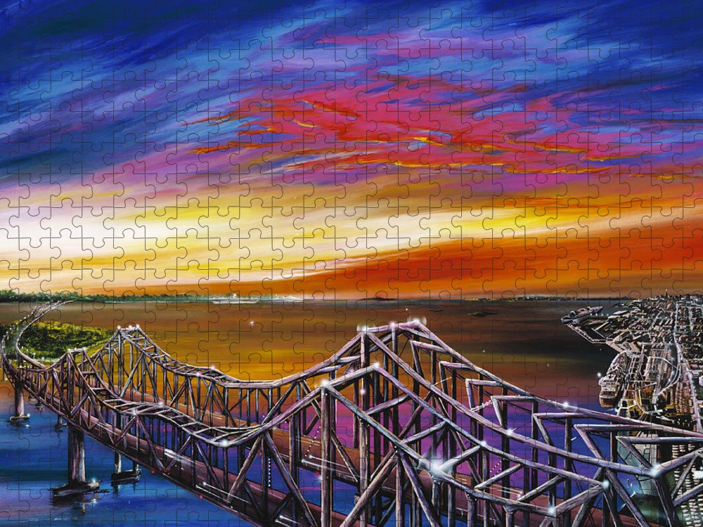Clouds Puzzle featuring the painting Cooper River Bridge by James Christopher Hill