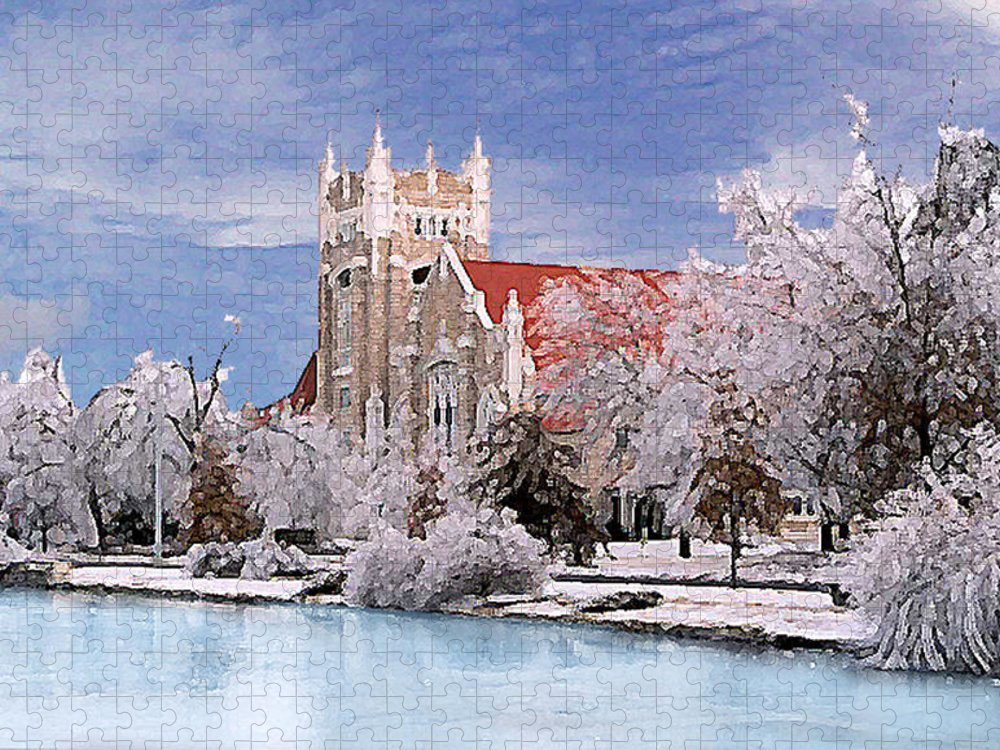 Winter Puzzle featuring the photograph Country Club Christian Church by Steve Karol