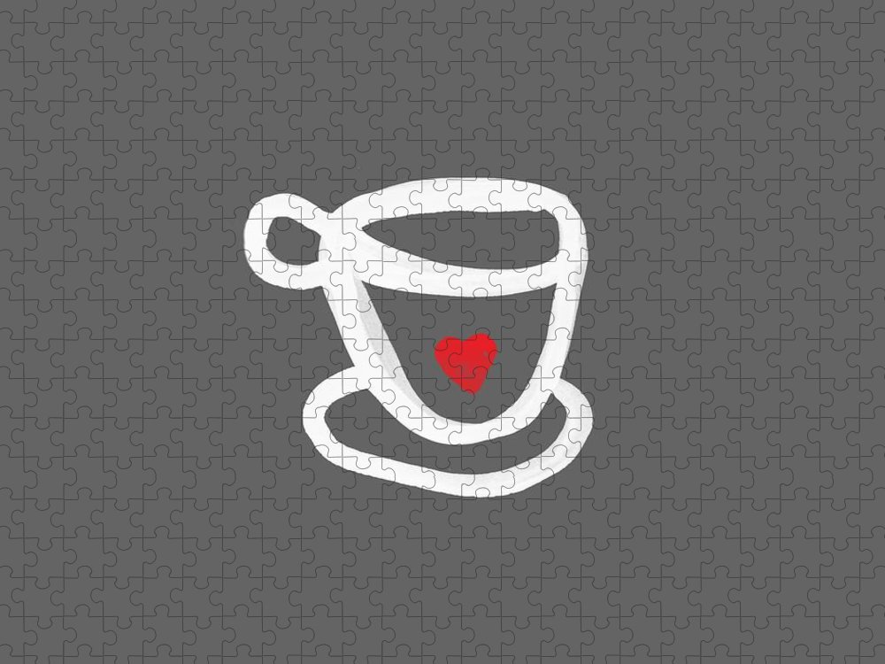 Coffee Puzzle featuring the painting Cup of Love- Shirt by Linda Woods