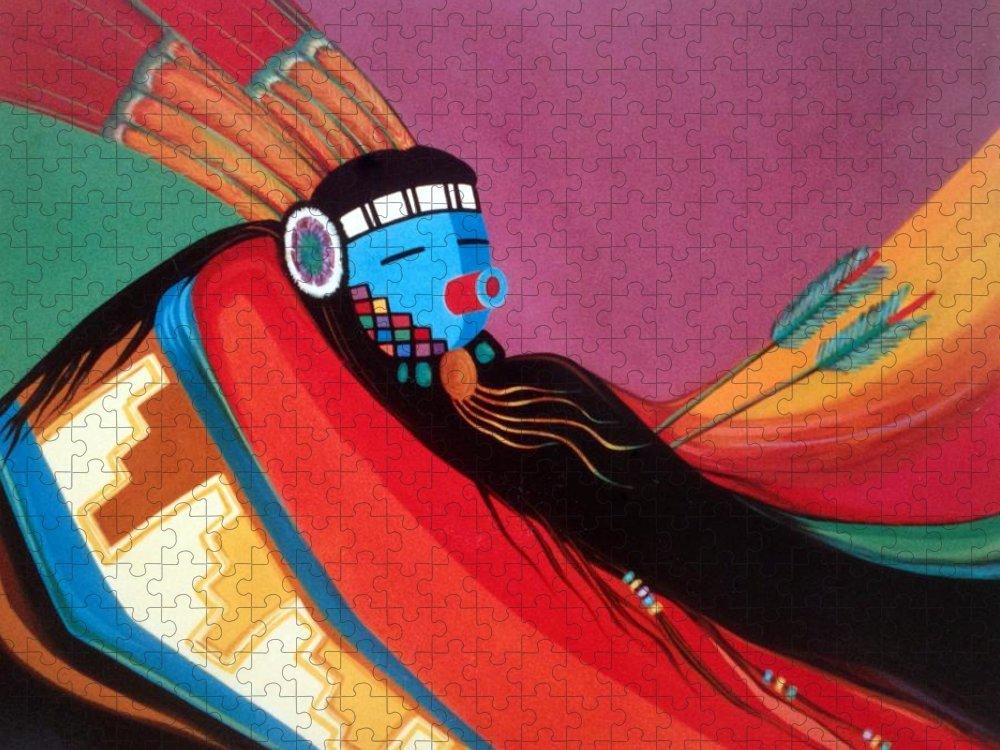 Kachina Puzzle featuring the painting Custom Kachina by Marlene Burns