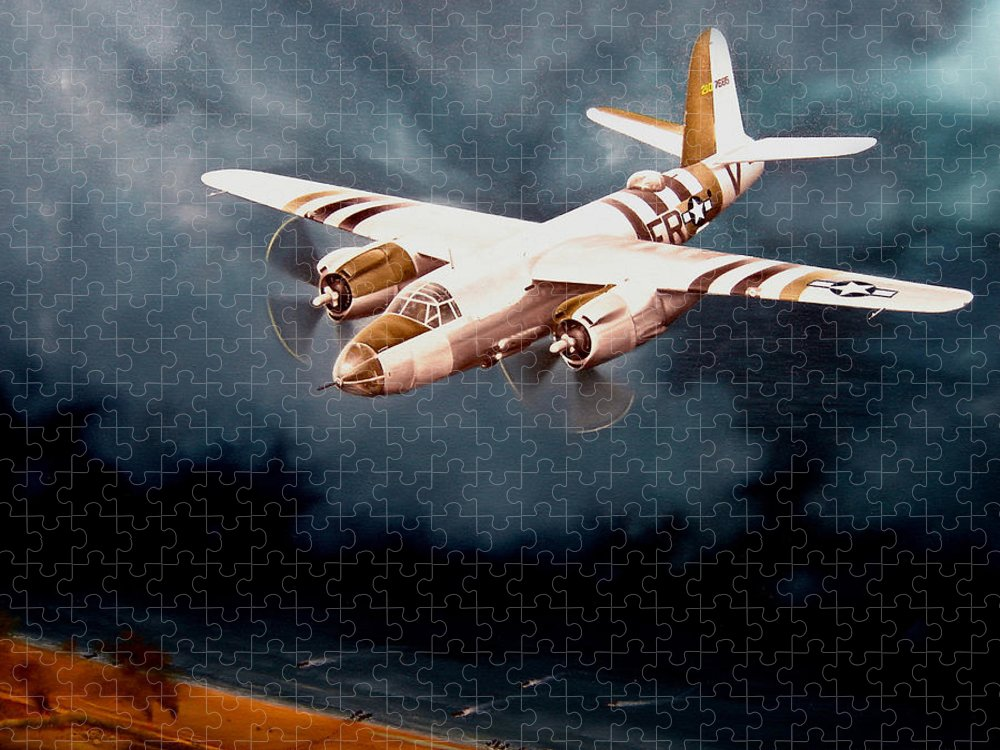 Military Puzzle featuring the painting D-Day Support by Marc Stewart